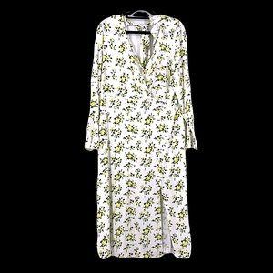Asos yellow white prairie dress size 12 NWT flowy long cute floral